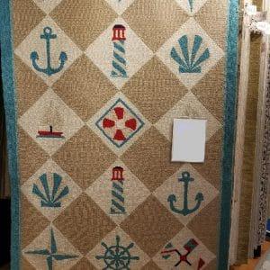 Capel, Nautical Grid Rug, 5′ x 8′